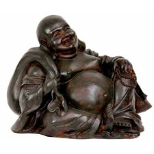 "5"" Sitting Happy Buddha Statue in Faux Bronze"
