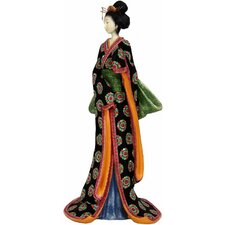 Geisha Figurine with Pale Green Sash