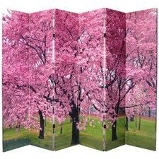 Double Sided Cherry Blossom Canvas 6 Panel Room Divider