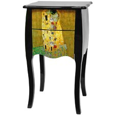 "Lacquer Klimt ""The Kiss"" 2 Drawer Cabinet"