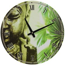 Buddha Round Wall Clock in Golden
