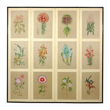 Twelve Small Flowers Folding Silk Room Divider