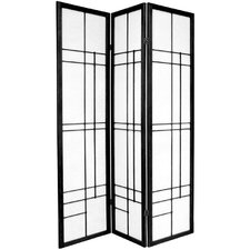 "72"" Eudes Decorative Paned Room Divider in Black"