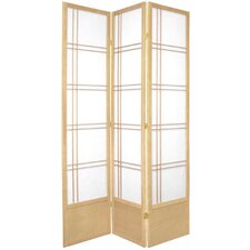 "78"" Double Cross Design Room Divider in Natural"