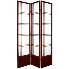 "78"" Double Cross Design Room Divider in Rosewood"