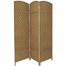 6 Feet Tall Diamond Weave Fiber Room Divider in Natural