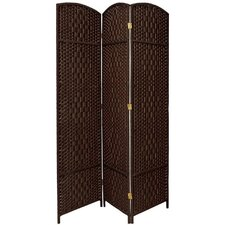 Diamond Weave 3 Panel Room Divider in Dark Mocha