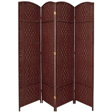 Diamond Weave 4 Panel Room Divider in Dark Red