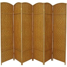 Diamond Weave 6 Panel Room Divider in Light Beige