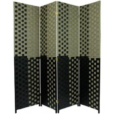 Woven Fiber 4 Panel Room Divider in Olive and Black