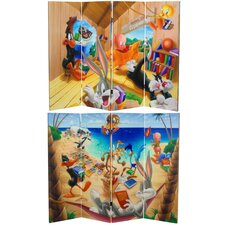 Tall Double Sided Bugs Bunny and Friends Canvas Room Divider