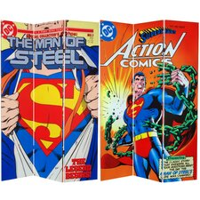 Tall Double Sided Superman Man of Steel Canvas Room Divider