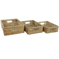 Hand Woven Low Basket Tray (Set of 3)