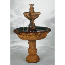 Tiered Cast Stone Small Tazza Waterfall Fountain