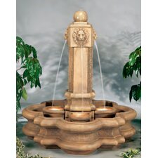 Lion Cast Stone Classic Pillar Waterfall Fountain