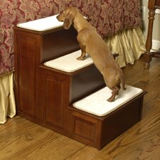 Three Step Pet Stairs in Cherry Finish