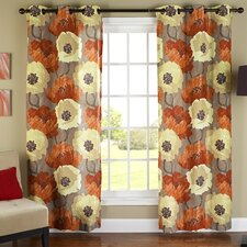 Poppies Poly Duck Cloth Grommet Curtain Panel Pair
