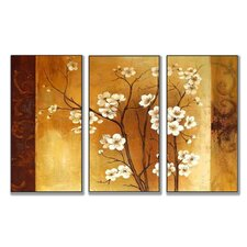 Floral Crimson Back Triptych Wall Art