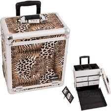 Leopard Pattern Interchangeable Professional Rolling Makeup Train Case