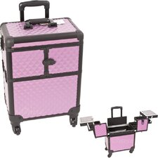 Purple Diamond Professional Rolling Cosmetic Makeup Train Case