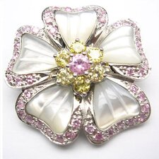 Flower Pearl Pin in Pink / Yellow