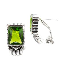 Peridot Clip / Post Earrings