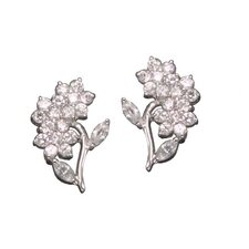 Flower Rhodium Plated Sterling Silver Earrings