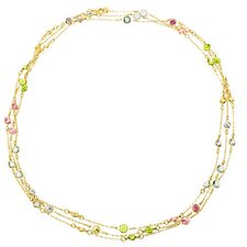 "60"" Tiffany Inspired Multi Gemstone Gold Necklace"