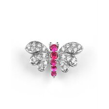 Ruby Butterfly Brooch Pin