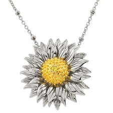 Lovely Sunflower Silver Pendant