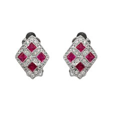 Cubic Zirconia Ruby Earrings