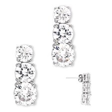 Past Present Future Graduating Cubic Zirconia Diamond Earrings