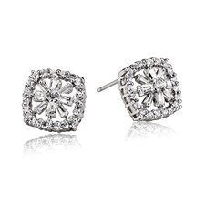 Cubic Zirconia and Classic Square Earrings