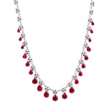Sterling Silver and Cubic Zirconia Drop Dangling Evening Necklace