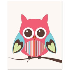Strip Belly Owl on Tree Art Print