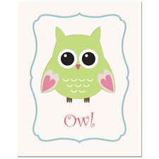 Solid Color Owl in Frame Art Print