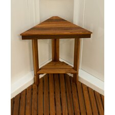 Teak Mini Corner Shower Bench with Shelf