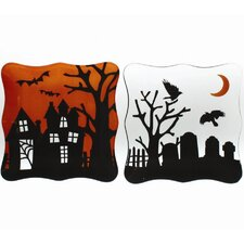 Spooky Party Glass Appetizer Plate (Set of 2)