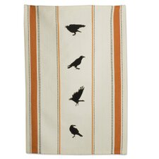 Halloween Crow Embroidered Dishtowel