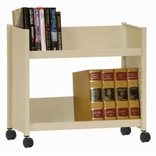 Sloped-Shelf Mobile Book Truck in Putty