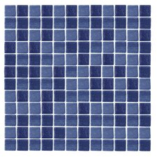 "Spongez S-Dark Blue 12"" x 12"" Recycled Glass Mosaic in Blue"