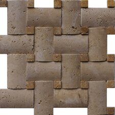 "Noce 12"" x 12"" Tumbled Travertine Pillowed Basketweave Mosaic in Brown"