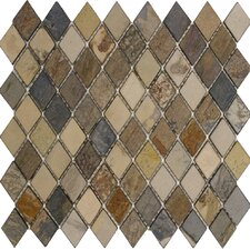 "12"" x 12"" Tumbled Slate Diamond Mosaic in Fall"
