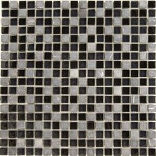 "Dancez Fandango 12"" x 12"" Stone and Glass Blend Mosaic in Black"