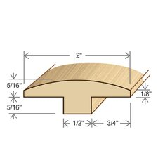 "0.63"" x 2"" Solid Hardwood Maple T-Molding in Unfinished"