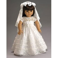 American Girl Dolls Special Day Dress, Wreath and Veil with First Communion or Wedding Outfit