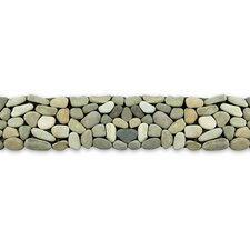 "Decorative Pebbles 39"" x 4"" Interlocking Border Tile in Turquoise"