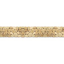 "Decorative Pebbles 39"" x 4"" Interlocking Border Tile in Alor Crystal"
