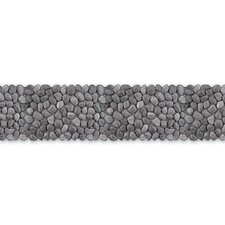 "Decorative Pebbles 39"" x 4"" Interlocking Border Tile in Honed Black Sea"