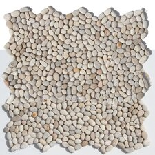 "Decorative Pebbles 12"" x 12"" Interlocking Mesh Tile in Playa Beige"